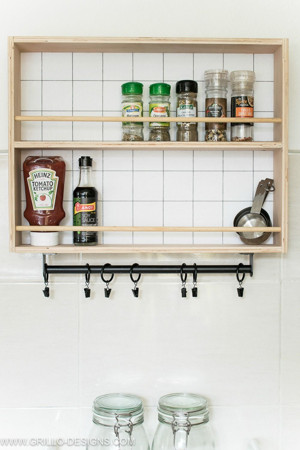 How To Build A Hanging Spice Rack And Ryobi Giveaway Declutter Kitchen Hanging Spice Rack Declutter Kitchen Counter