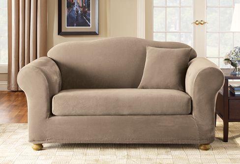 stretch pique four piece 3 seat sleeper sofa slipcover loosy rh pinterest es