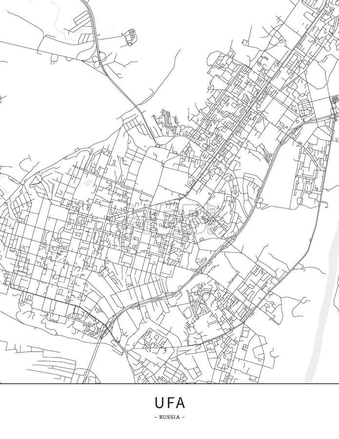 Ufa Russia Map Poster Borderless Print Template Maps Vector