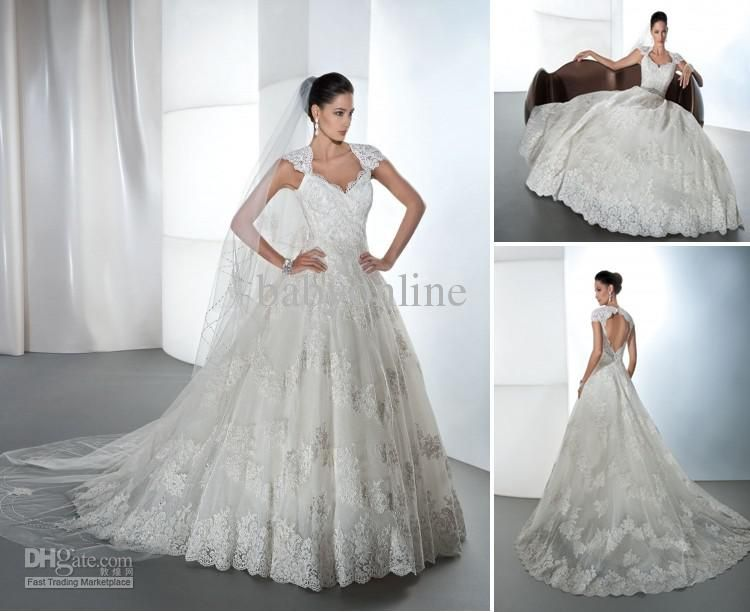 2013 Sexy Cap Sleeves Lace Wedding Dresses A-Line Beaded Crystals ...