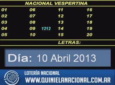 Quiniela Nacional Vespertina Dia Miercoles 10 De Abril De 2013 Periodic Table Boarding Pass Weather