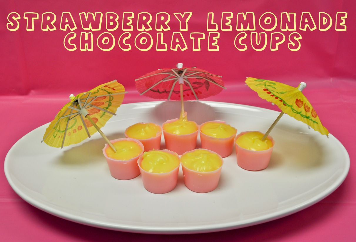 Strawberry Lemonade Chocolate Cups recipe. For best results, use Chocoley Bada Bing Bada Boom Gourmet Compound Dipping Chocolate (available in dark, milk & white) OR use no oil needed, mouthwatering Belgian style Chocoley INDULGENCE Dipping & Enrobing Ultra Couverture Chocolate (available in dark & milk) available at http://www.chocoley.com/chocolate