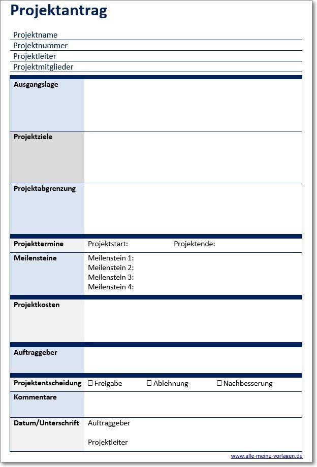 Vorlage Projektantrag Projektmanagement Projekte Projekt Planung