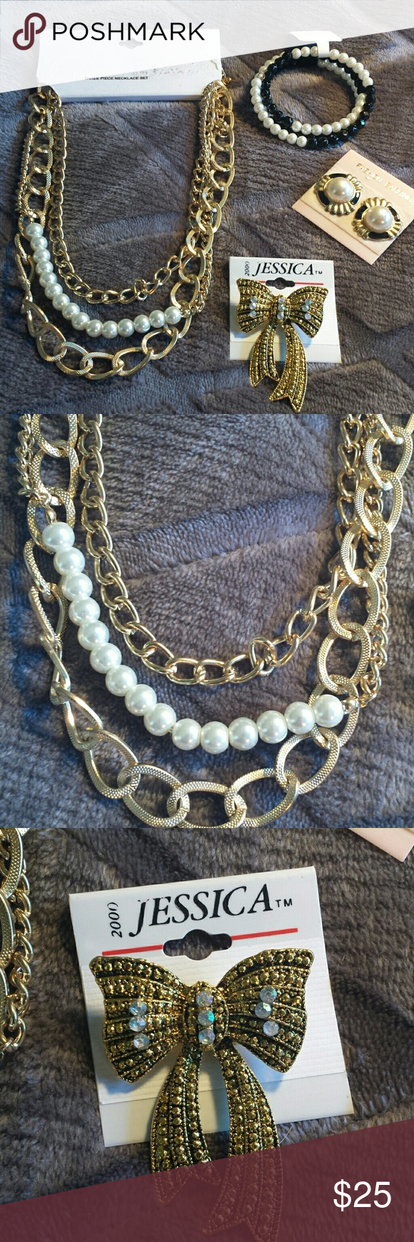NWT Faux Gold and Pearl Jewelry Set Boutique Wraparound Pearl