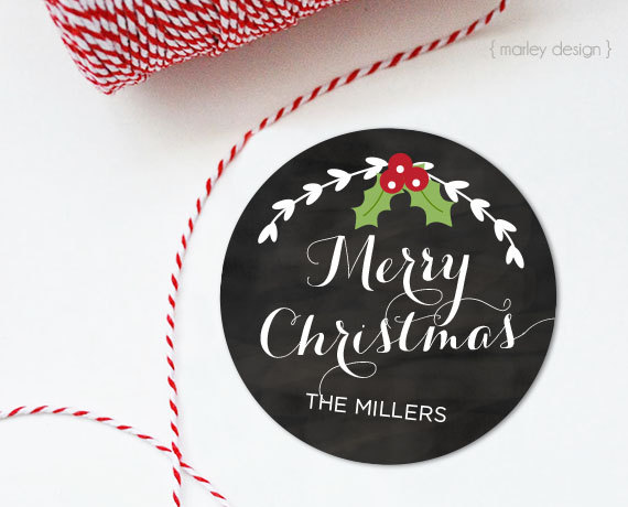 Chalkboard Christmas Tags Printable 2 Inch Round Personalized