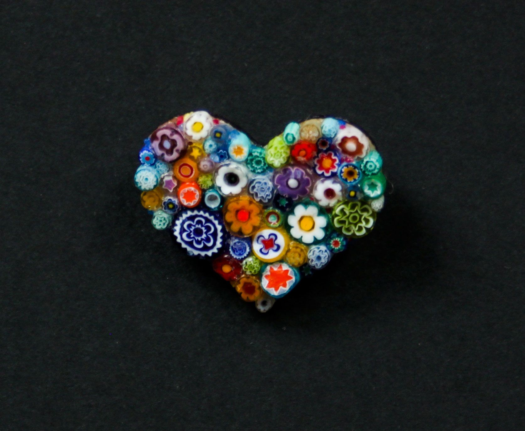 Handmade heart brooch from Italian glass beads. An eye catcher with it's beautiful design and colours #womens #fashion #brooch #italianglassbeads