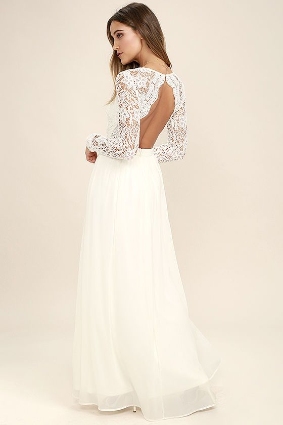 643e0cd8f28 Open your eyes to a world of beautiful possibilities in the Awaken My Love White  Long Sleeve Lace Maxi Dress! Crocheted lace elegantly graces the fitted ...