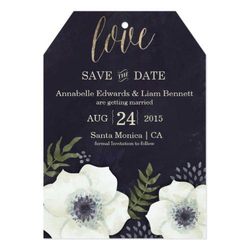 Summer Night Flowers Wedding Save the Date Card Summer wedding - invitation non formal