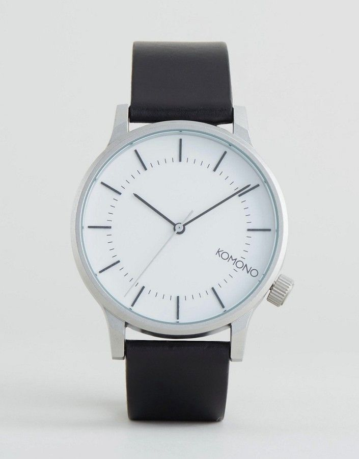 d17ddc913 Komono Winston Regal Leather Watch In Black/Silver   Watches in 2019 ...