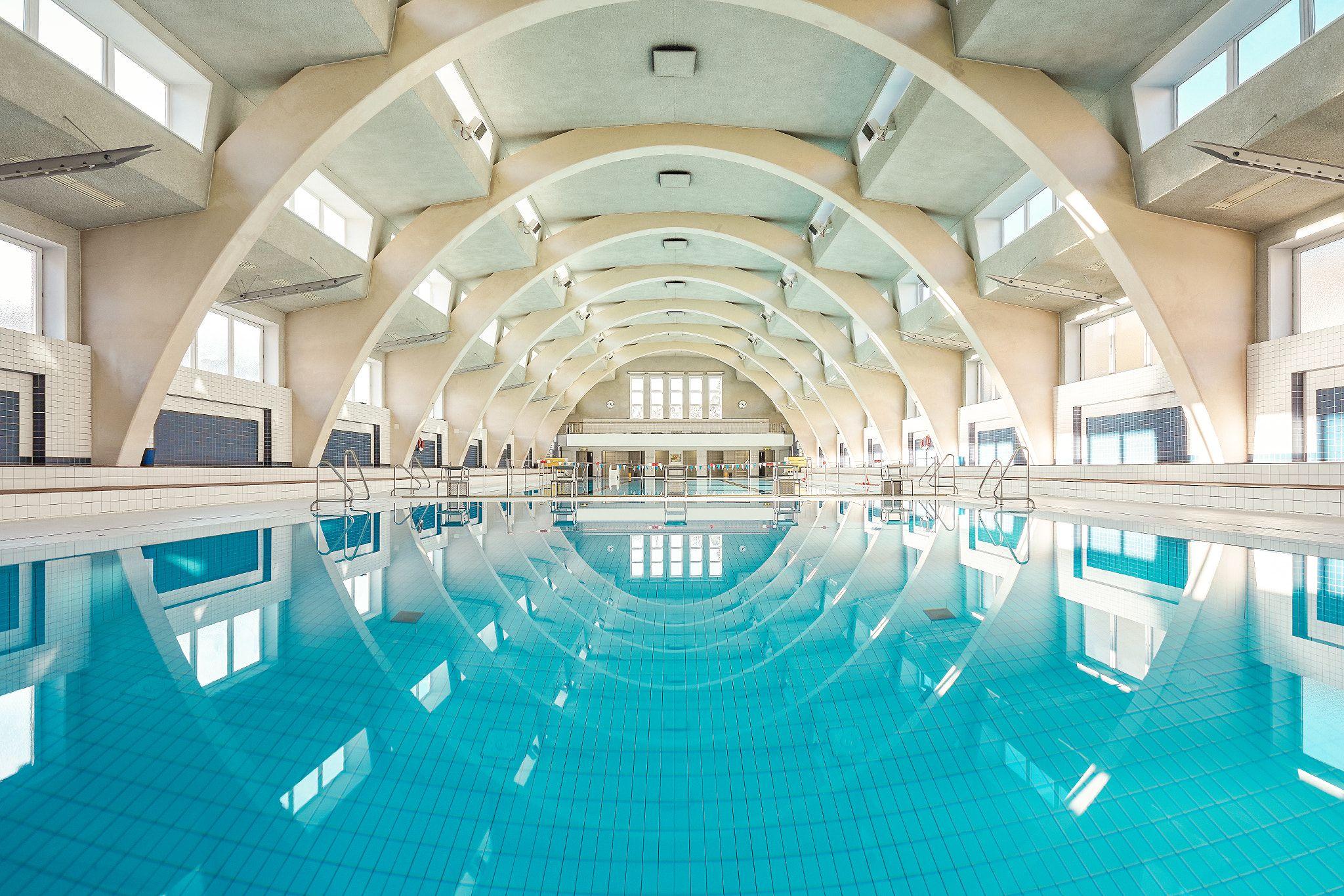 Public Swimming Pool   Beautiful Public Indoor Swimming Pool Captured In  Stuttgart, Germany