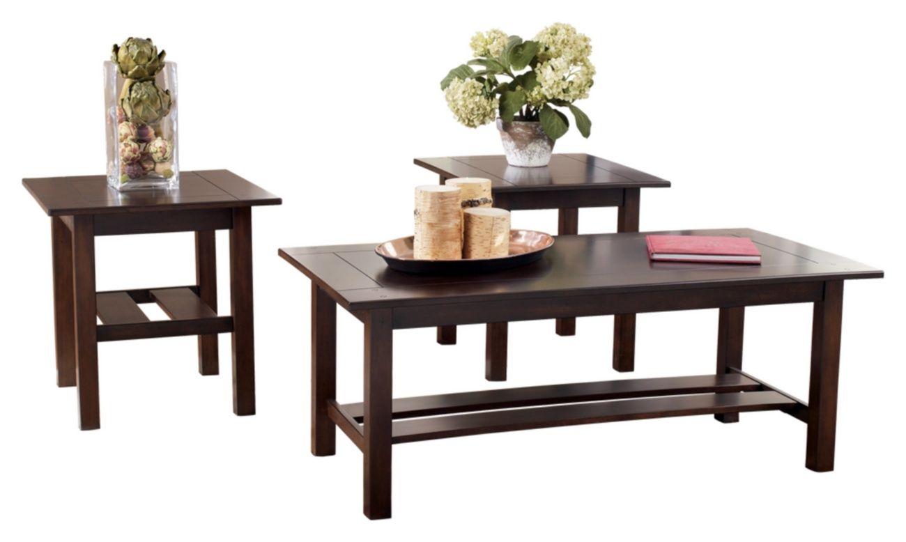 Signature Design Lewis Occasional 3 Pc Table Set Ashley Furniture T309 13 Coffee Table Setting