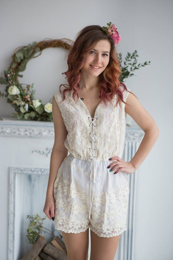 d9129319617e Bridal Lace Romper from my Paris Inspirations Collection - Corset Lace Up Style  Romper