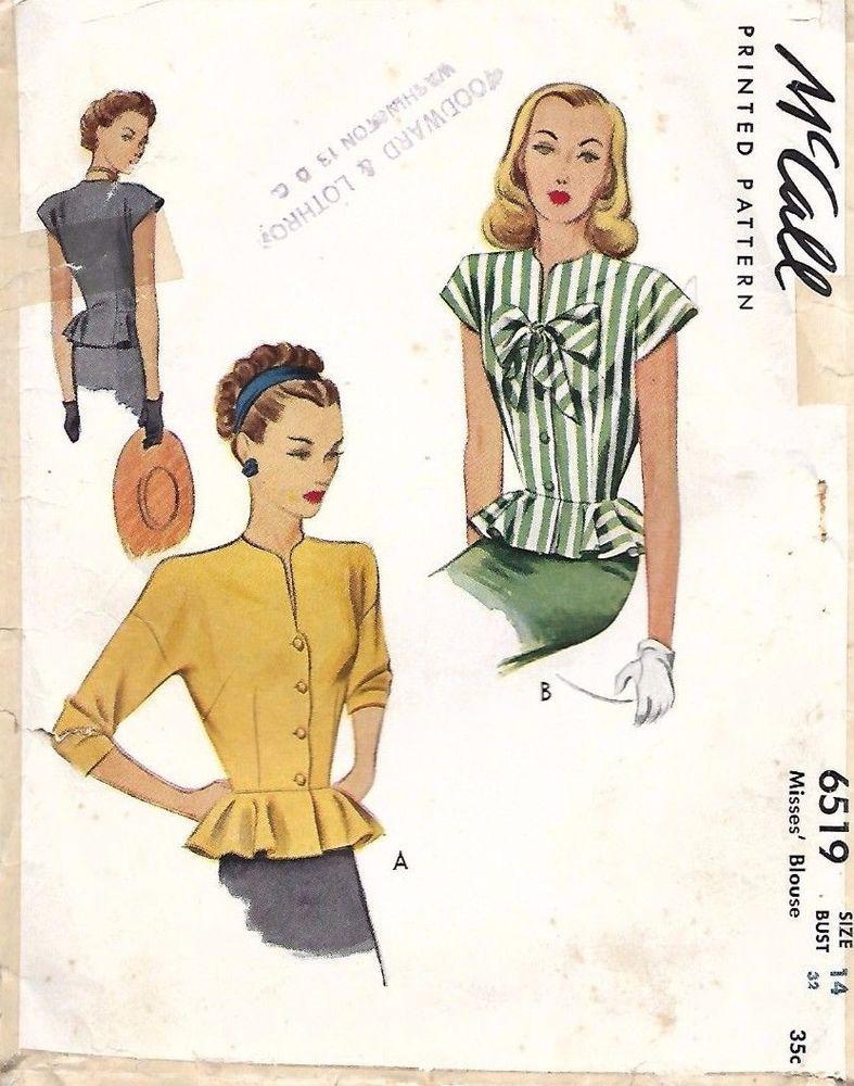 Vintage 1940\'s Sewing Ultra Feminine Peplum Blouse Wartime Bow Bust ...