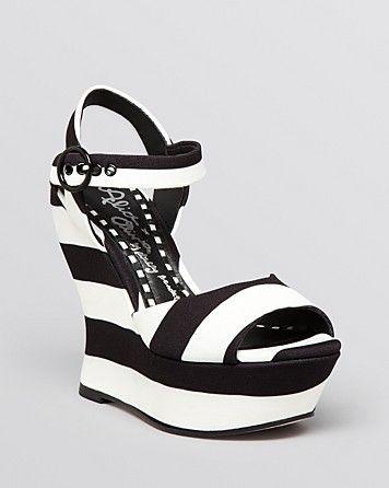 8d69a1fa67dd Alice + Olivia Platform Wedge Sandals - Jana Striped ...