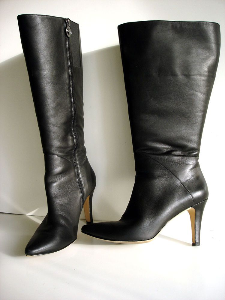 4c733c88cf0 Fitzwell Extra Wide Calf Boots Black Leather Size 10 M - 19 inch calf Sexy  Heels  Fitzwell  FashionKneeHigh