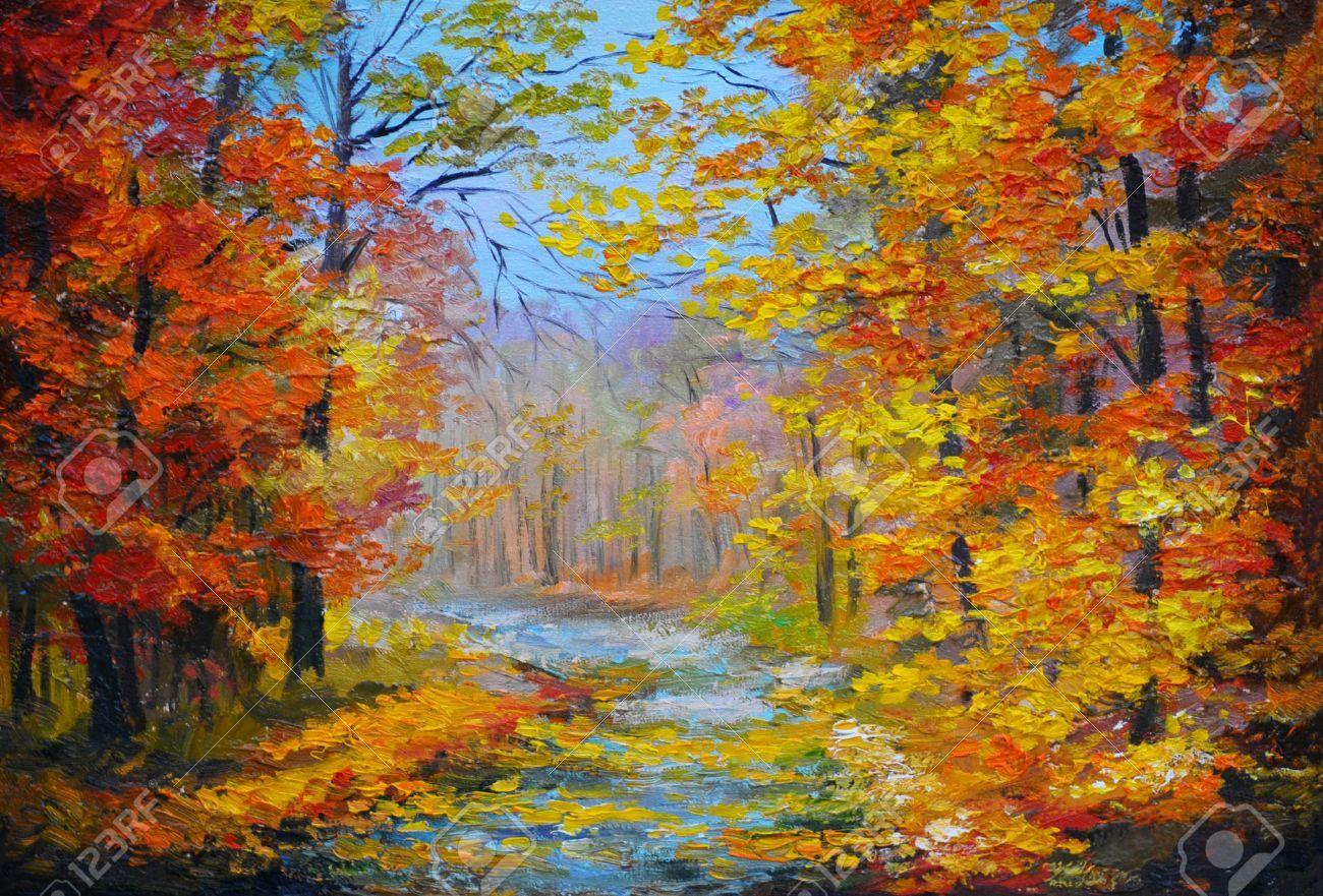 İlgili resim   Paysages en peinture à l'huile, Forêt d'automne, Paysage automne aquarelle