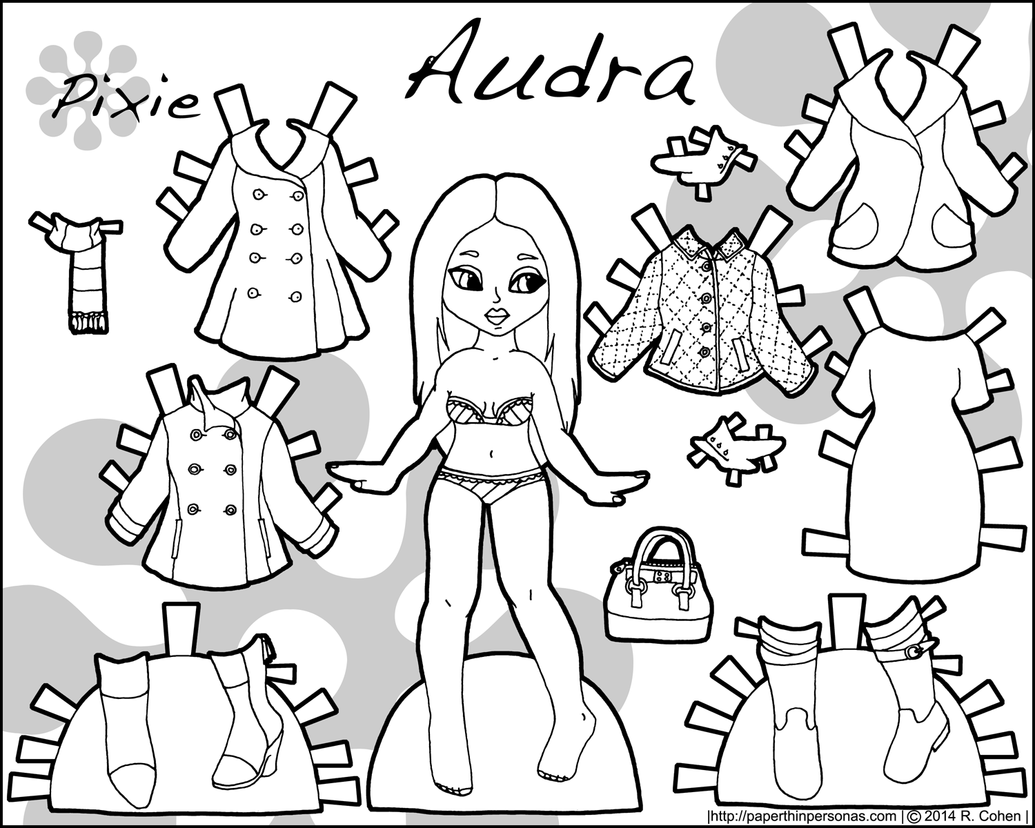Audra A Printable Paper Doll In Black And White And In