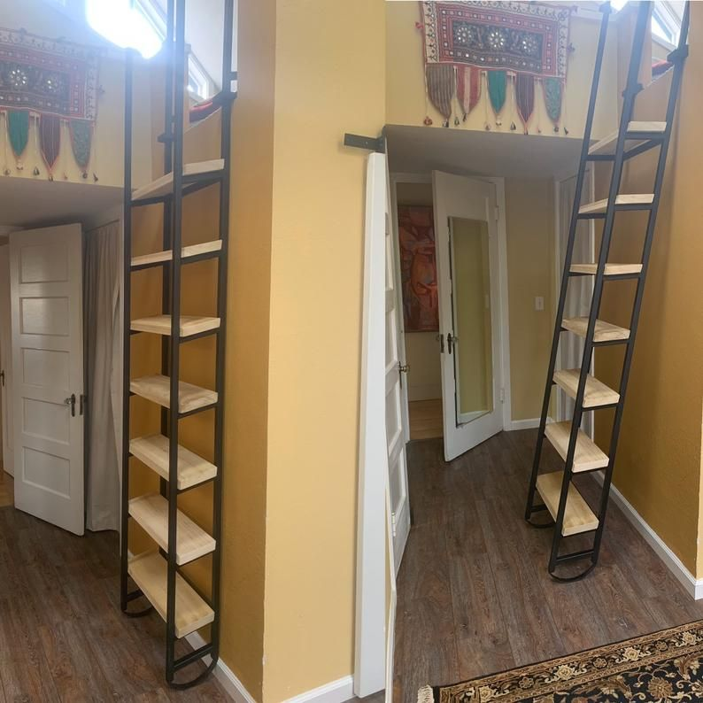 10ft Loft Ladder Librarian Free Shipping To Your Door Etsy In 2020 Loft Ladder Stairs Design Loft