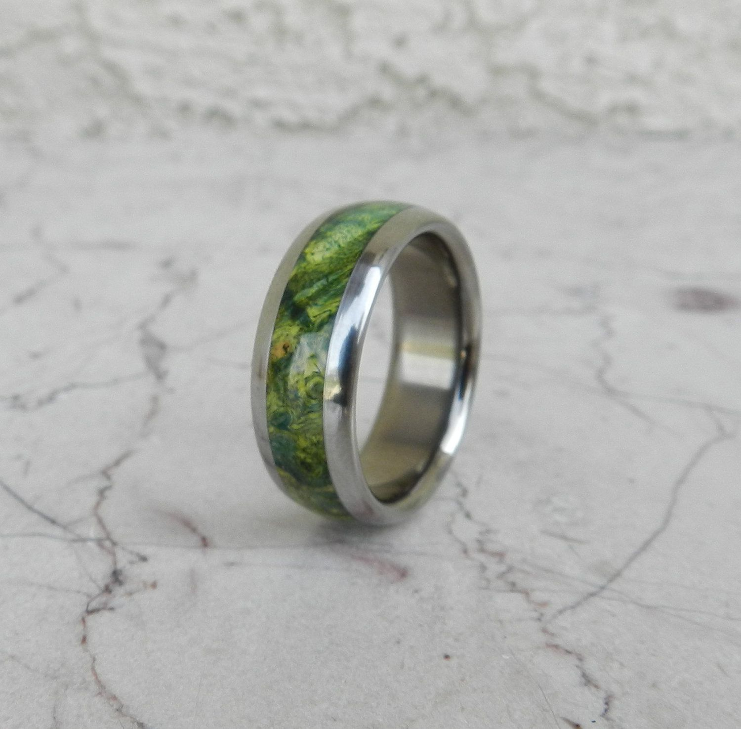 Tungsten Ring Green Maple Burl Wood Mens or La s Wedding Band in