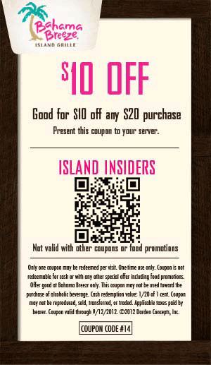 image about Printable Coupons Bahama Bucks named $10 off $20 at Bahama Breeze eating places coupon by means of The