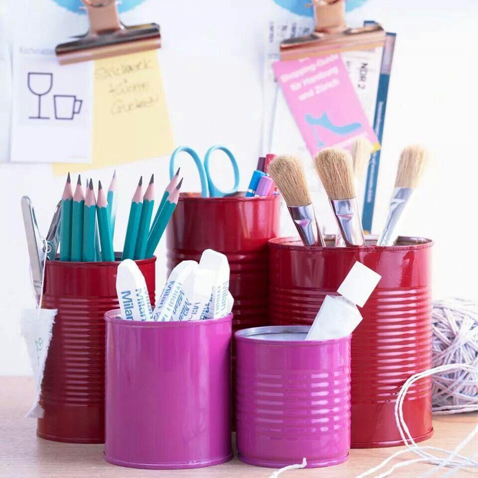 Stiftebecher Diy Aufbewahrung Stifte Bemalte Blechdosen