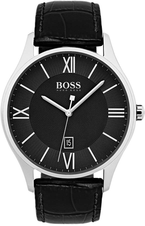 144db9c20cc Hugo Boss Men s Governor Black Leather Strap Watch 44mm 1513485 in ...