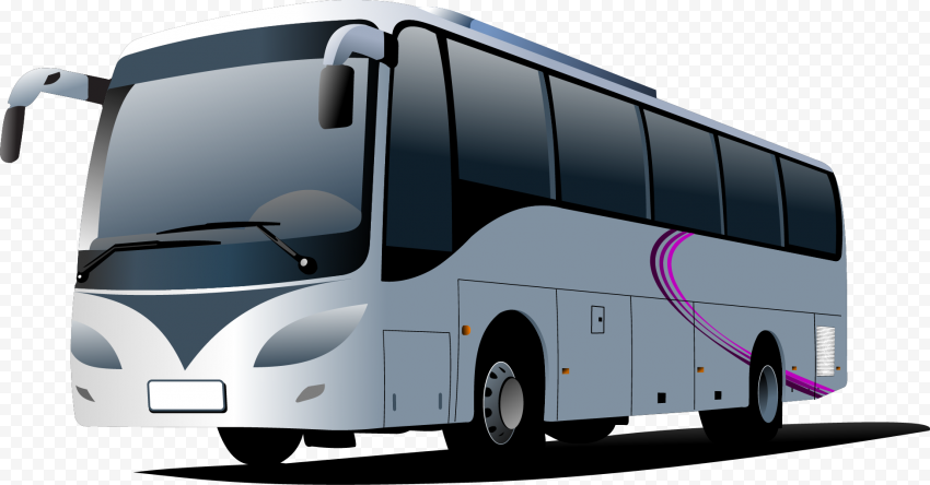 White Cartoon Illustration Bus Blue City Bus Luxury Bus