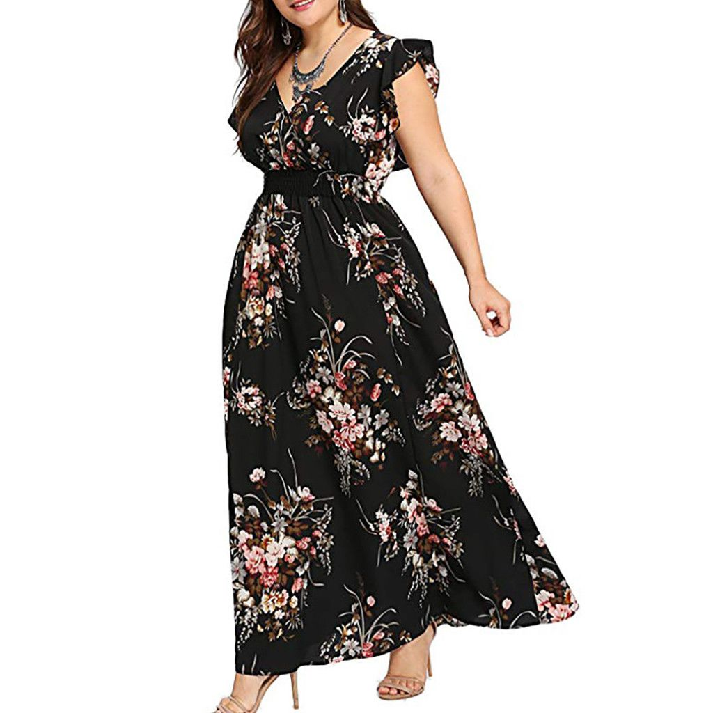 Picked Up From Walmart Free 2 Day Shipping Buy Ilh Women Plus Size Summer V Neck Floral Print Boho Sleeve Maxi Dress Party Boho Maxi Dress Summer Maxi Dress [ 1024 x 1024 Pixel ]