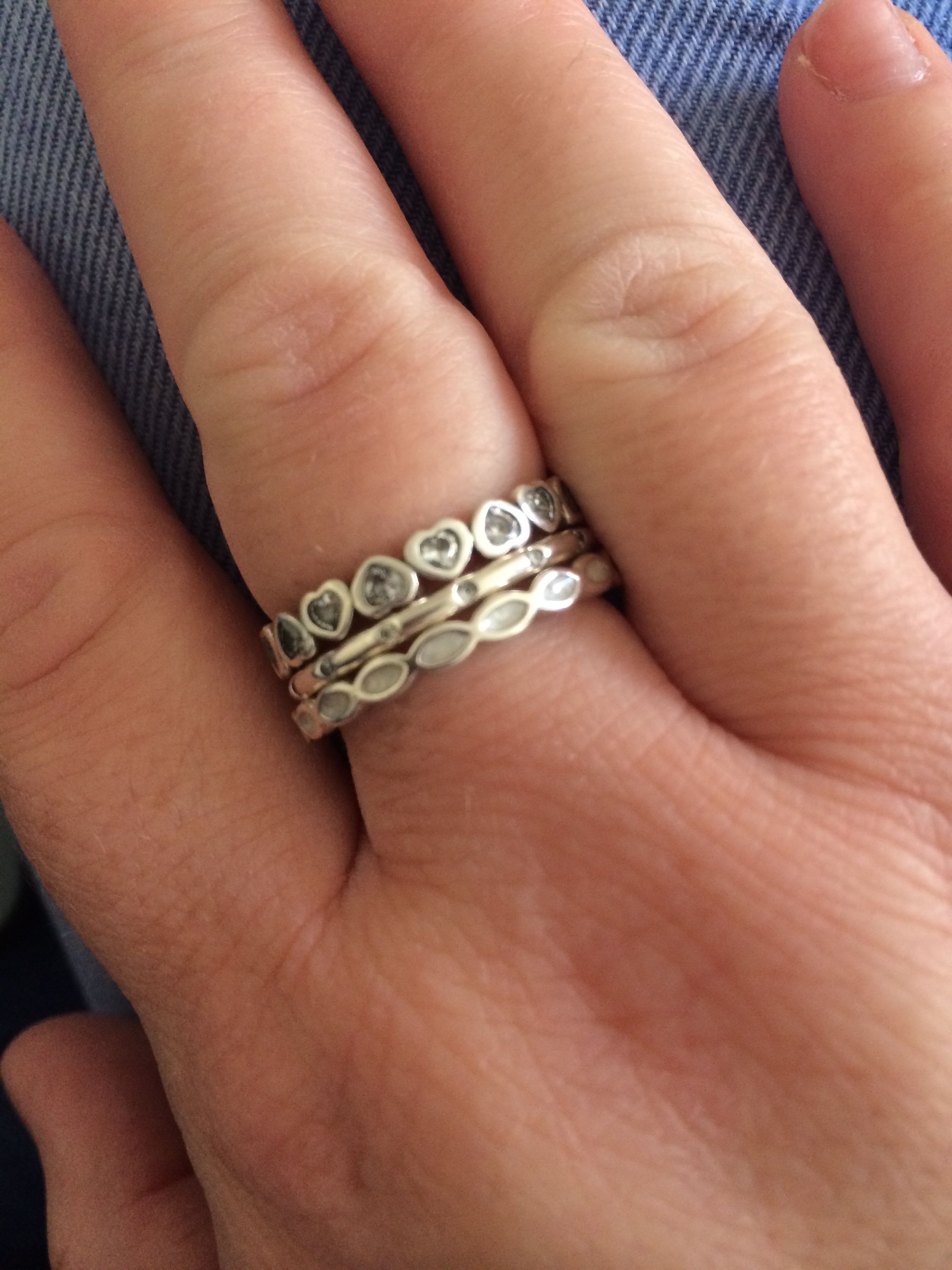 127f5c0cc ... My new fav combo of pandora stacking rings Pandora. This mother of pearl  ...