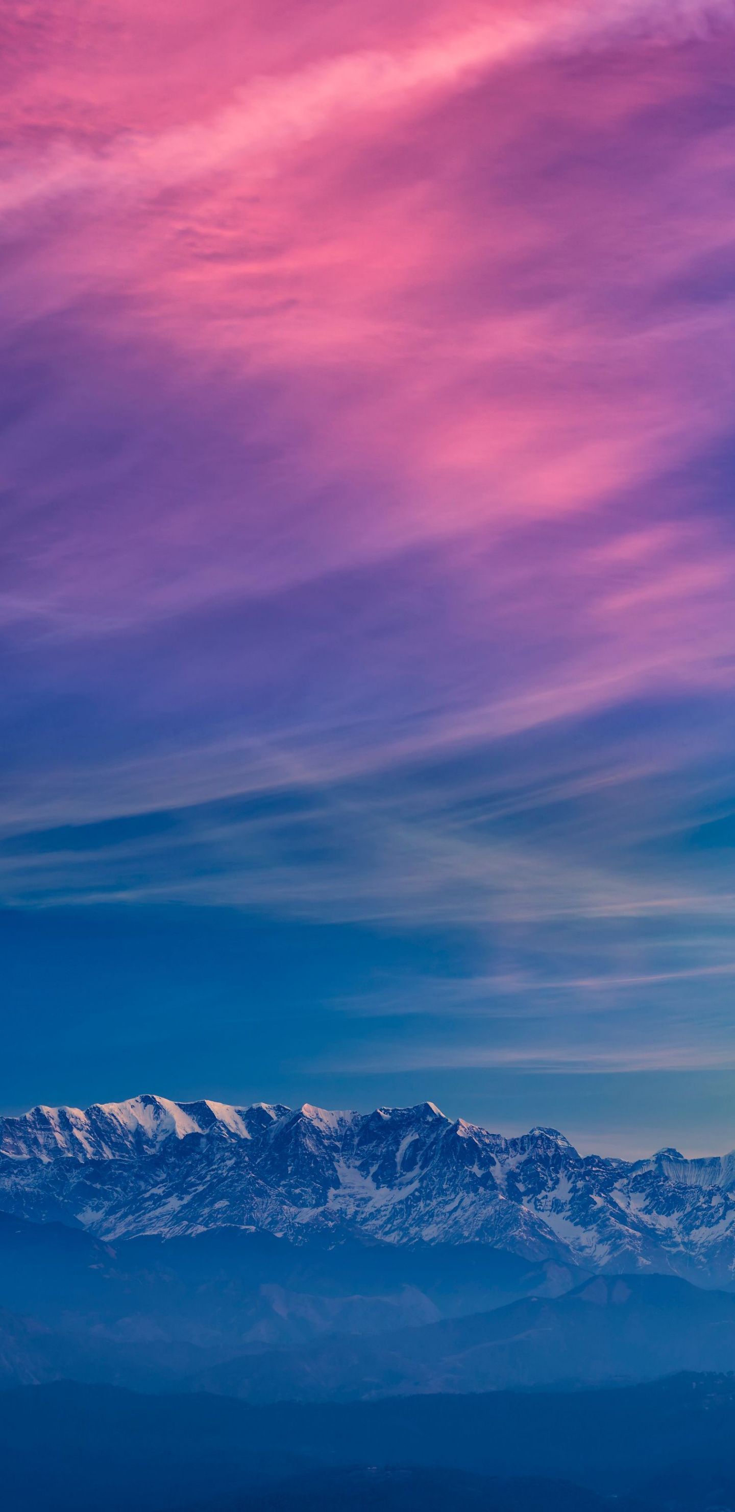 1440x2960 Horizon Blue Sky Mountains Fog Sunset Wallpaper Sunset Wallpaper Hd Nature Wallpapers Landscape Wallpaper