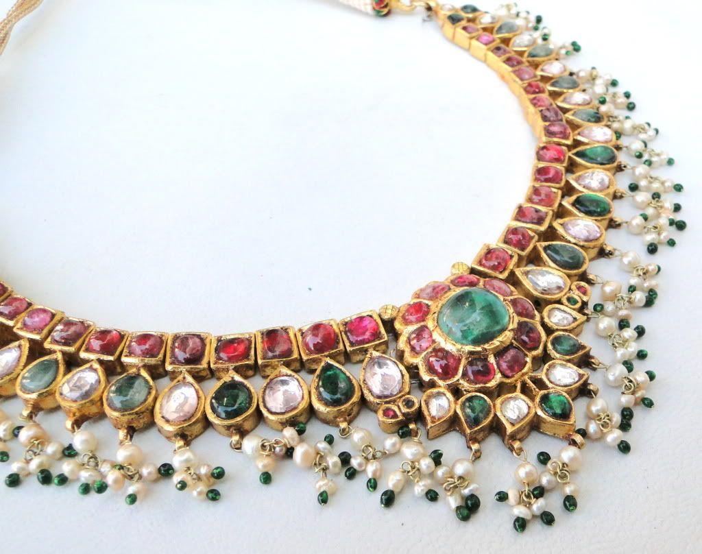ANTIQUE 20K GOLD DIAMOND POLKI KUNDAN NECKLACE Tamil Nadu South ...