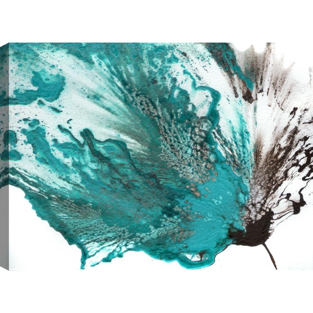 The blue flower v floral art unframed canvas print wall art