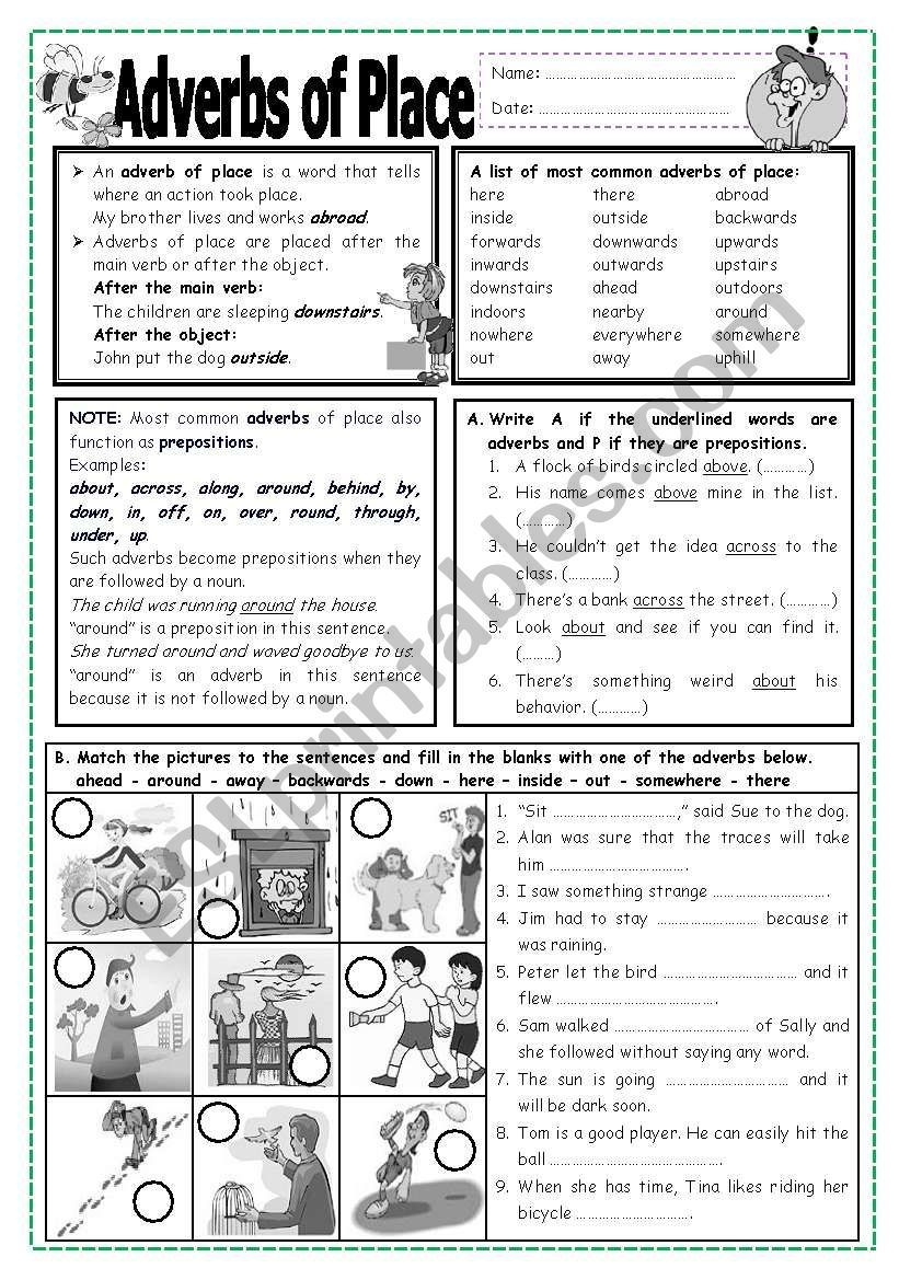 hight resolution of Adverbs of Place worksheet   Adverbs