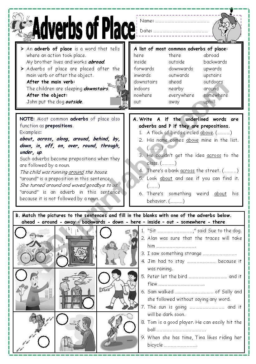 Adverbs of Place worksheet   Adverbs [ 1169 x 821 Pixel ]