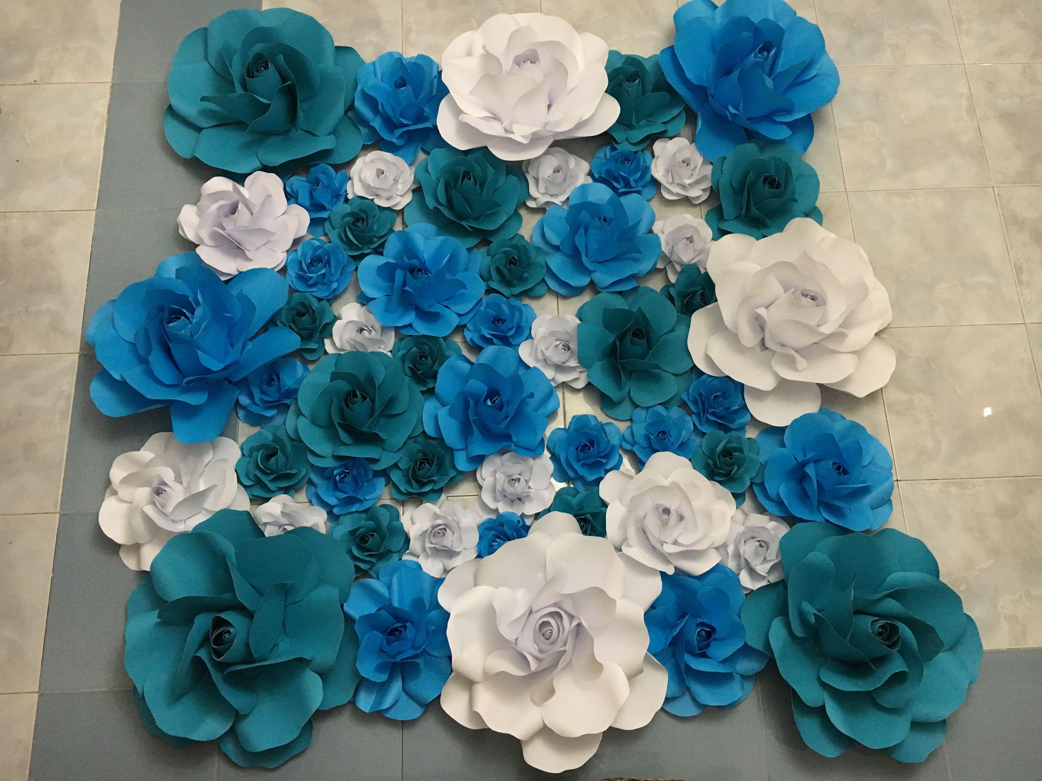 Blue Green Sky Blue And White Paper Flower Backdrop By Gellediy