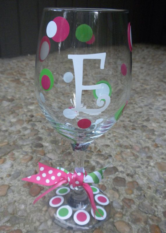 initials wine glass either single initial or by dottindivas