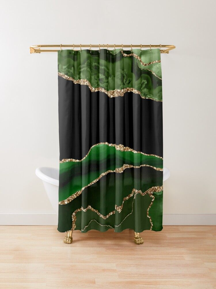 Emerald Green Malachite Marble Shower Curtain By Mysticmarble In