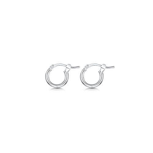 Sterling Silver Hoop Sleeper Earrings 25-50mm nMzhI