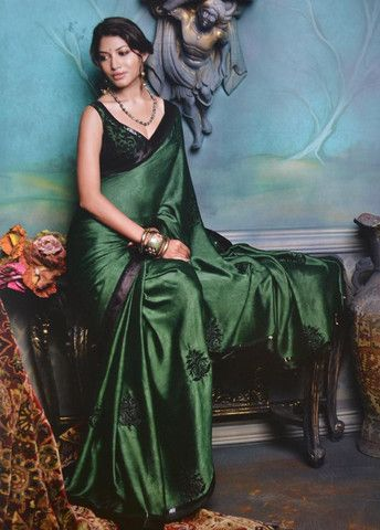 Bottle Green Colour Wrinkle Chiffon Saree Sari Indianwear Fashion Style Chiffon Saree Saree Designs Indian Fashion