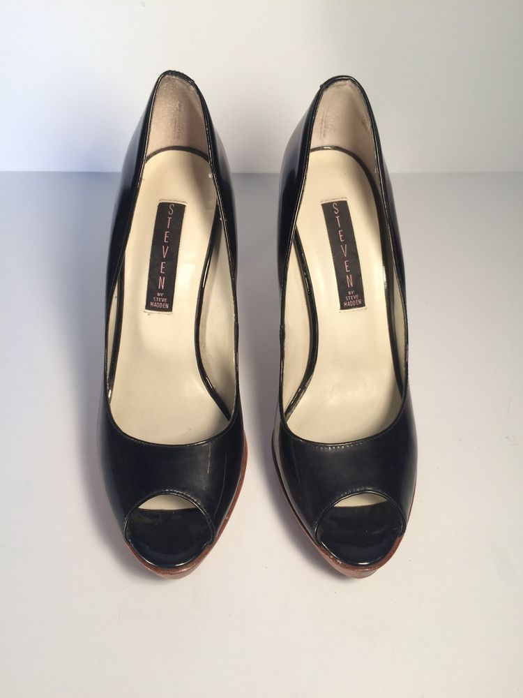 f40ebe3347c STEVEN by Steve Madden Black Patent Leather LALO Peep Toe Pump Heels ...