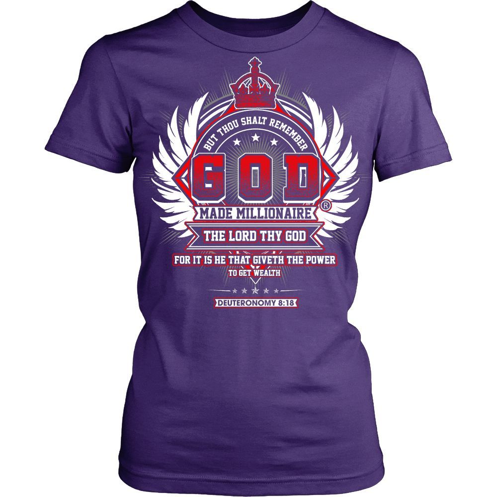 Womens God Made Millionaire ® Crown Series Womens Shirt (Multiple Colors) Red Color Design On Front Only