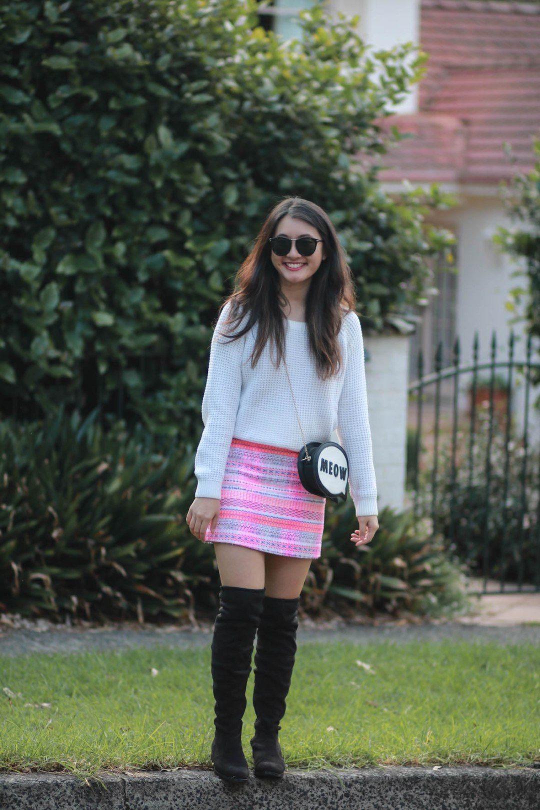 4357ae247 STYLE SMORGASBORD // how to wear neon in the fall, autumn, colder months,  winter, neon marcs tweed mini skirt hot pink, black over the knee suede  boots, ...