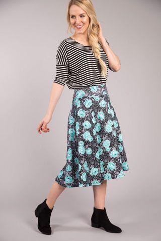 cb508e4962 Roses and Antique Lace Aqua Techno Midi Skirt   Cute Clothes   Midi ...