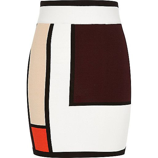 cf2e8e3c02 White colour block knit mini skirt - mini skirts - skirts - women ...