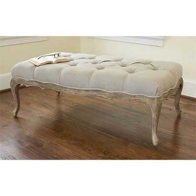 For the end of the bed, a tufted ottoman in a neutral linen.   For ...