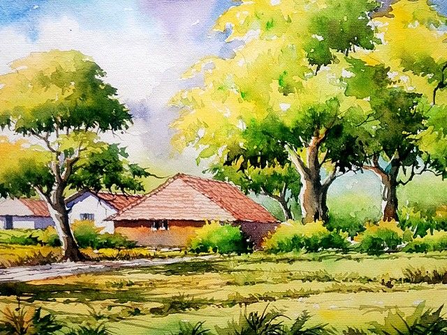 A South Indian Village Houses Watercilor Watercolor Horse