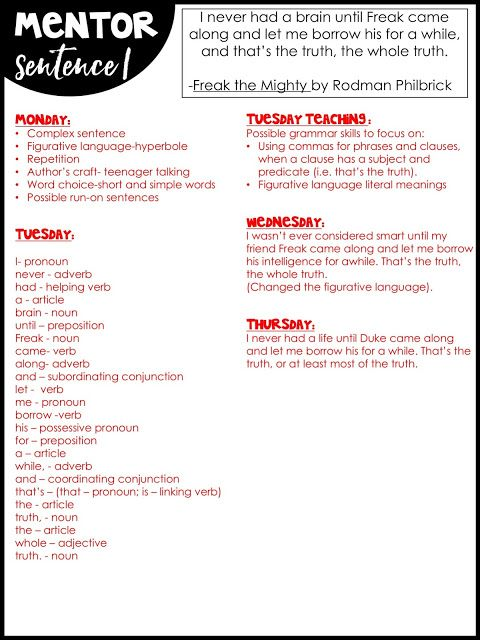Using Mentor Sentences to Teach Grammar in Middle School