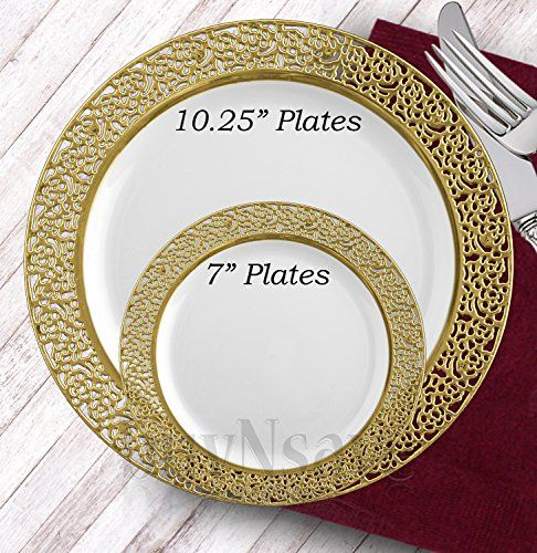 Disposable Thanksgiving Plates 201 Piece Gold Disposable Plastic Party Plates Set Of 25 Fancy Tableware Wedding Christmas Thanksgiving Dinnerware Elegant Disposable Wedding Plates Elegant Dinnerware Disposable Plates