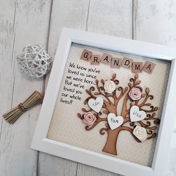 Diy Geschenk Basteln - Personalisierte Stammbaum, Oma Rahmen, Geschenk für Oma, Geschenk für ... #newgrandma