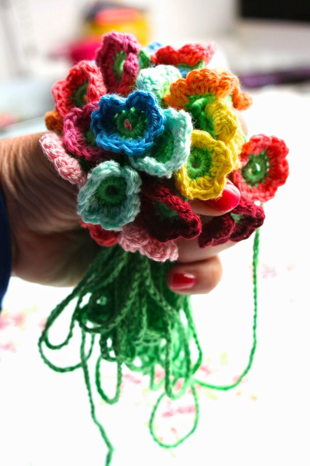 Patroon Bloemenslinger Haken Crochet Bloem Pinterest Haken